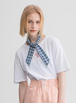 三福2019夏装新品女撞色领带短袖T恤 简约休闲上衣女