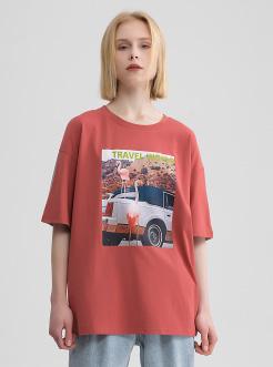 三福2019夏装新品女撞色印花短袖T恤 韩版休闲宽松上衣女
