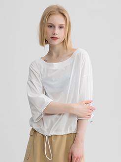 三福2019夏装新品女一字领抽绳袖口T恤 宽松中袖上衣女