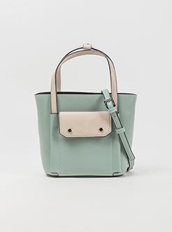 三福2019女夏拼色系列子母包手提包单肩包斜挎包女包