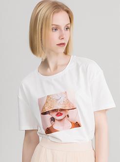 三福2019夏装新品女人像印花短袖T恤 立体装饰休闲上衣女