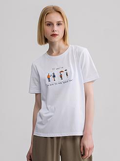 三福2019夏装新品女贴布印花短袖T恤 韩版潮流上衣女
