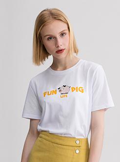 三福2019夏装新品女创意印花短袖T恤 韩版潮流上衣女