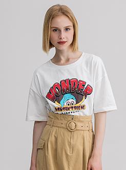 三福2019夏装新品女创意卡通印花短袖T恤 潮流上衣女