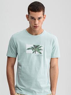 三福2019夏裝新品男棕櫚印花短袖T恤 潮流圓領上衣男