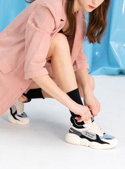 三福2019女夏时尚撞色潮流熊猫运动鞋跑步休闲女鞋