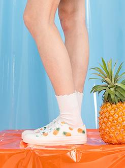 三福2019女夏時尚學院風水果印花網眼低幫帆布鞋女鞋