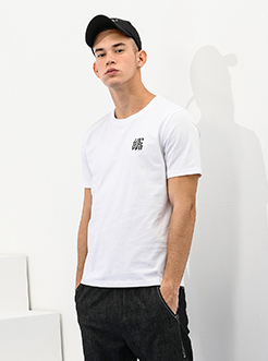 三福2019夏装新品男简约刺绣短袖T恤 时尚韩版上衣男