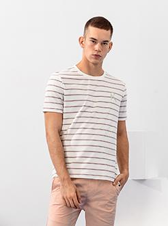 三福2019夏裝新品男羽毛刺繡條紋短袖T恤 韓版上衣男