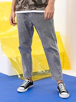 三福2019夏装新品男烟灰色牛仔裤 薄款松紧腰九分裤男
