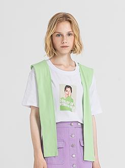 三福2019夏装新品女海军风披肩印花短袖T恤 宽松上衣女