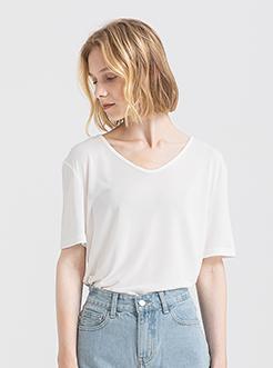 三福2019夏装新品女时尚V领短袖T恤 简约韩版上衣女