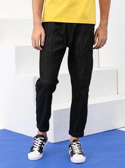 三福2019夏装新品男黑色锥形牛仔裤 薄款九分休闲裤男