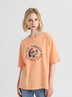 三福2019夏装新品女趣味印花短袖T恤 韩版宽松上衣女