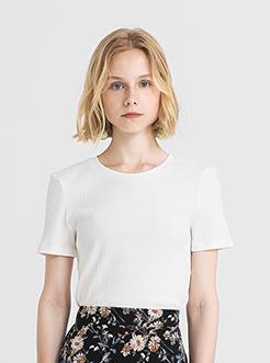 三福2019夏装新品女韩版小圆领短袖T恤 时尚紧身上衣女