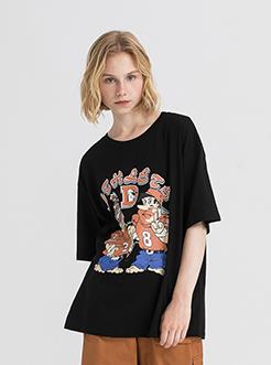 三福2019夏装新品女趣味漫画印花短袖T恤 宽松上衣女