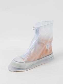 三福2019女夏成人学生户外出行便携拉链高筒雨鞋套脚套