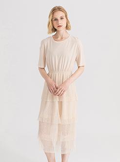 三福2019夏装新品女系带收腰连衣裙 甜?#28010;?#23618;蛋糕裙女