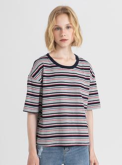 三福2019夏装新品女撞色条纹短袖T恤 潮流宽松上衣女