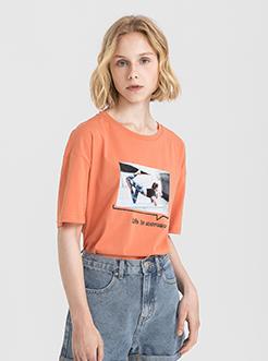 三福2019夏装新品女创意瑜伽印花短袖T恤 潮流上衣女