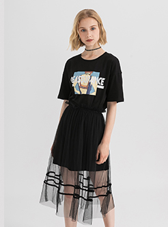 三福2019夏装新品女网纱连衣裙套装 T恤裙子两件套女
