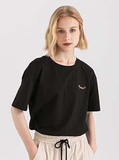 三福2019夏装新品女英文刺绣短袖T恤 韩版休闲上衣女