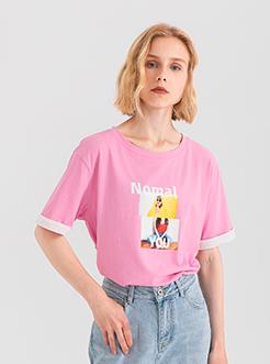 三福2019夏装新品女印花袖子拼接短袖T恤 潮流上衣女