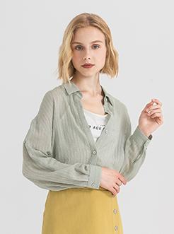三福2019夏装新品女简约条纹长袖衬衫 甜美宽松衬衣女