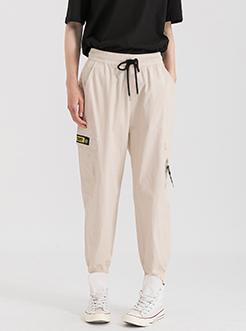 三福2019夏裝新品女時尚簡約工裝長褲 松緊腰哈倫褲女