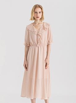 三福2019夏装新品女荷叶边领甜美连衣裙 时尚气质长裙女