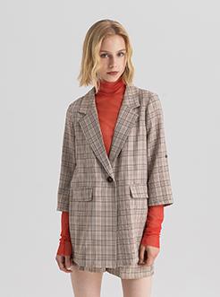 三福2019夏装新品女撞色格子套装 修身甜美短裤套装女