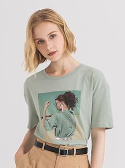 三福2019夏装新品女趣味印花短袖T恤 宽松休闲上衣女