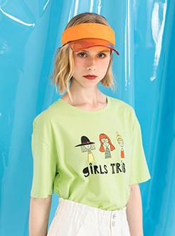 三福2019夏装新品女萌趣卡通印花短袖T恤 宽松上衣女