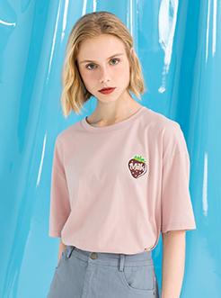 三福2019夏装新品女创意印花短袖T恤 宽松韩版上衣女