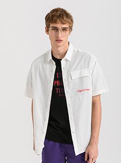 三福2019夏装新品男口袋印花短袖衬衫 简约薄款衬衣男