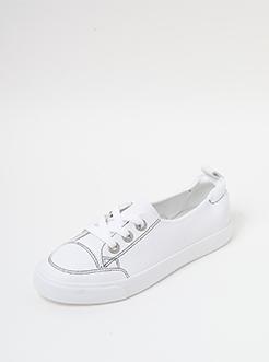 三福2019女夏學院風淺口彈力跟低幫休閑小白鞋板鞋女鞋