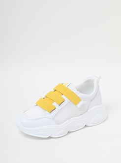 三福2019女夏休闲潮流魔术贴网面拼接厚底运动鞋女鞋