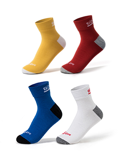 三福 男筒袜一双装 撞色英文轻薄精梳棉运动袜子