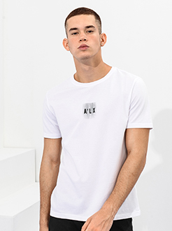 三福2019夏裝新品男小字母印花T恤 休閑短袖上衣男