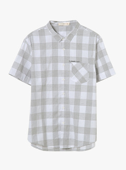 三福2019夏装新品男口袋格子短袖衬衫 潮流休闲衬衣男