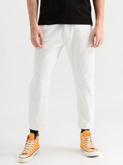 三福2019夏装新品男森系白色牛仔裤 九分韩版哈伦裤男
