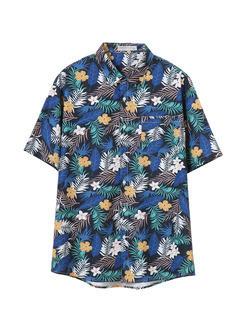 三福2019夏装新品男度假风满版印花短袖衬衫 休闲衬衣男
