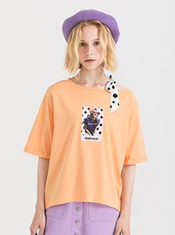 三福2019夏装新品女波点领口系带短袖T恤 不规则上衣女