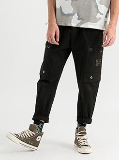 三福2019夏装新品男口袋抽绳工装裤 休闲薄款九分裤男