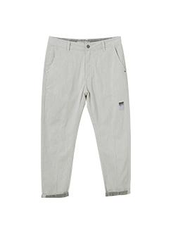 三福2019夏装新品男细节贴标白色牛仔裤 休闲小脚长裤男