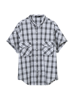 三福2019夏装新品男格子印花口袋短袖衬衫 薄款衬衣男