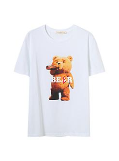 三福2019夏装新品男创意印花短袖T恤 休闲韩版上衣男