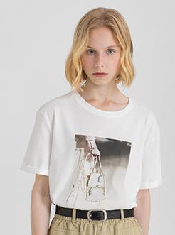 三福2019夏装新品女创意印花短袖T恤 宽松圆领上衣女