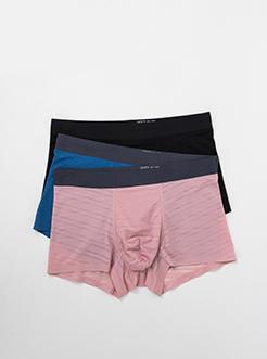 三福 男平角中腰內褲 輕透提花條紋無痕貼邊四角底褲