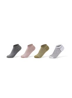 三福 男船袜一对/双装 简约条纹轻薄隐形袜子